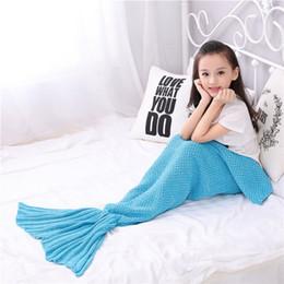 $enCountryForm.capitalKeyWord Australia - Wholesale Supply Children Mermaid Blanket Summer Air Conditioning Blanket Cool Summer Child Napping Knit Comfortable