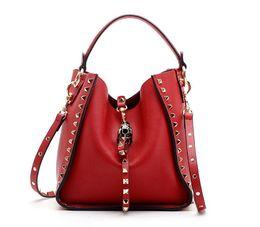 Genuine Leather Handbag Cowhide Shoulder Bag Australia - Fashion Brand Rivets Bucket Bag Studded Spike Handbag Genuine Cowhide Leather Shoulder Crossbody Purse For Women