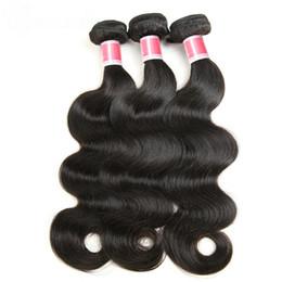 Toptan satış Brezilyalı Vücut Dalga Saç Uzantıları 8-30 inç% 100% İnsan Saç Dokuma Paketler Doğal Renk Olmayan Remy Saç