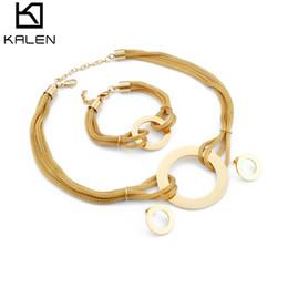 $enCountryForm.capitalKeyWord NZ - wholesale Jewelry Sets For Women Stainless Steel Earrings & Bracelet & Necklace Set Acero Inoxidable Joyeria Mujer Femme Jewellery