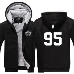 f173ddc7 2019 winter hoody Korea kpop BTS V 95 hip hop Men women Thicken autumn  Hoodies clothes sweatshirts Zipper jacket fleece hoodie streetwear