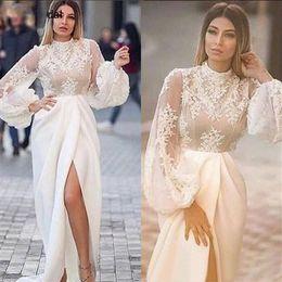 $enCountryForm.capitalKeyWord Australia - 2019 Mermaid Arabic Evening Dress High Split Long Bell Sleeves Lace Elastic Satin Sexy Prom Gowns Custom Made Women Party Dress