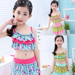 2d91e78c35 Kids Swimwear Ruffled Girl Bikini Skirts 2pcs Sets Floral Children Bathing  Suits Summer Toddler Beach Wear Kids Clothes 3 Designs YW3689