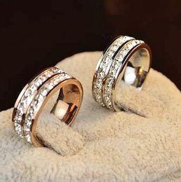 $enCountryForm.capitalKeyWord NZ - Fashion popular double row crystal diamond ring 18K rose gold couple men and women pair jewelry jewelry love gift