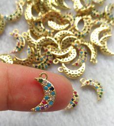 $enCountryForm.capitalKeyWord Australia - wholesael 10pcs 22mm Moon rainbow rhinesotne pave micro CZ 14K GOLDPendant-earrings-charm beads