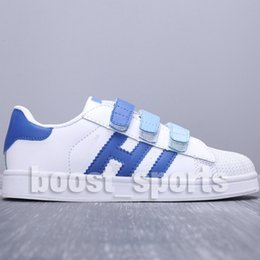 Baby Shoes Red White Australia - High Quality Kids Children Baby Superstar White Black Pink Blue Red Hook Loop Gazelle Boy Gril Samba Stan Smith Casual Shoes Size Eur24-35