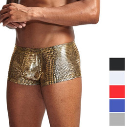 Wholesale mens opening underwear for sale - Group buy Snake Skin Leather Sexy Mens Underwear Boxers Brand Open Front Crotchless Boxer Shorts Men U Convex Low Waist Male Underpants