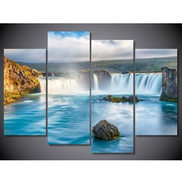 $enCountryForm.capitalKeyWord Australia - HD Printed Wedding Decoration Painting Picture 4 Panel Natural Waterfall Modern Framework For Living Room High Quanlity Canvas