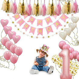 First Birthday Party Decorations Australia - Baby Anniversary Balloons Happy Birthday Banner Kids First Birthday Party Decoration Set Birthday Hat Banner Flag Topper Balloons Kit