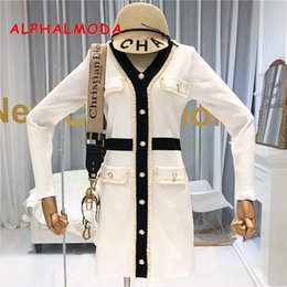 Wholesale french style dresses fashion for sale – plus size ALPHALMODA Autumn New French V neck and Long Sleeve Knitted Dress Women Slim Waist Faux Pocket Fashion Outfit