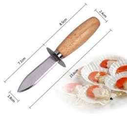 Shell Knife Handle Australia - Good Grips Wholesale Stainless steel oyster knife shell open wooden handle seafood scallop oyster knives prize