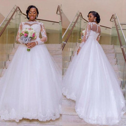 Discount wedding dresses for african brides Wholesales-Plus Size African Long Sleeves Wedding Dresses with Lace Applique A Line Tulle Sweep Train Wedding Gowns For Bride