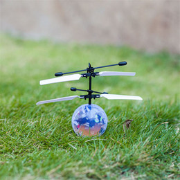 helicopter remotes 2019 - RC Toys Flying Ball Helicopter LED Lighting Sensor Suspension Remote Control Aircraft Flashing Whirly Ball Built-in Shin