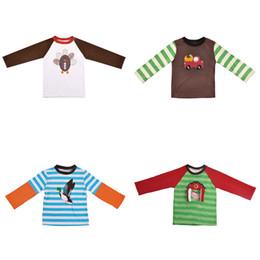 Wholesale black raglan t shirt for sale – custom Kids Striped T Shirts Pumpkin Embroidery Raglan Long Sleeve Halloween Tops Kids Clothes Girls Boy Clothing