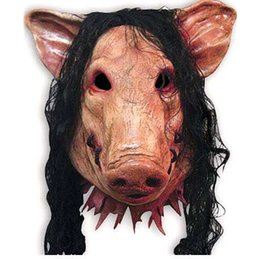 pig costumes 2019 - 1PC Saw Pig Head Scary Masks Novelty Halloween Mask With Hair Halloween Mask Caveira Cosplay Costume Latex Festival Supp