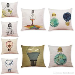 Bulb Case Australia - Venture Light Bulb Pattern Linen Cushion Covers Home Office Sofa Square Pillow Case Decorative Pillow Covers Without Insert (18*18Inch)