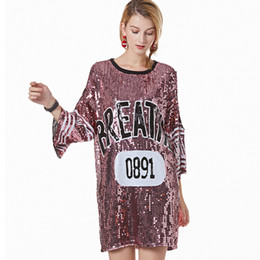 fac37908fc Stage Performance Outfits Women Logo Sequin Jersey Shirt Dress Casual Loose  Slit Sleeve Cold Shoulder Oversized T-Shirt Dress
