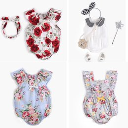 Elegant Jumpsuits Sleeves Australia - kids designer clothes girls romper lovely Full Flower Design Sleeveless infant Romper Elegant Summer romper Jumpsuits 0-2T Multi Colors
