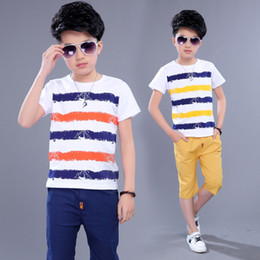 $enCountryForm.capitalKeyWord NZ - Kids Sets Boys Summer New Children Short Sleeved T Shirt +pant Two Sets of Children's Sport Suit 5-14 Ages Clothing 10 12 Year