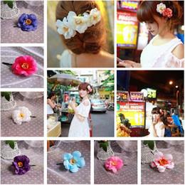 Satin Hair Clips Australia - Cute satin chiffon flower hairpin brooch artificial silk flower camellia rose hair accessories hairpin clip WCW136