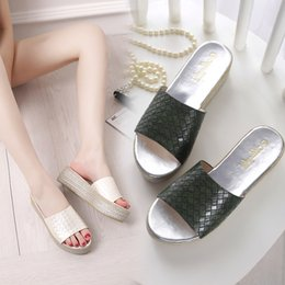 Green Gingham Australia - woman shoes grid platform slippers summer slides ladies wedges sandals woman plus size fashion zapatos mujer white black green