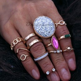 double finger chain rings Australia - 12 Pcs set Gold Color Knuckle Rings Set For Women Wave Large Round Crystal Hollow Chain Double Middle Finger Ring Charm Jewelry