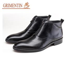abdc6928 GRGRIMENTIN Venta caliente Marca Zurriago Botas para hombre Moda de cuero  genuino Negro Marrón Hombres Botines para el vestido Zapatos de boda de los  ...