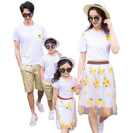 $enCountryForm.capitalKeyWord NZ - New Pineapple Summer family outfits clothing family mother daughter tshirt & Skirt father son cotton T shirt & Shorts 2pcs Sets