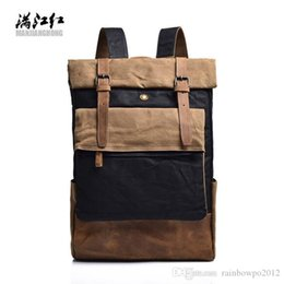 canvas horse backpacks UK - Wholesale brand men handbag fashion contrast leather backpack men essential curling mad horse leather men backpack large canvas student bag