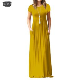 plus size maxi dress xxl Australia - Maxi Cap Sleeve Long Dress Women Designer Clothes New Solid Short Sleeve Fashion Casual Dresses Pockets Solid Plus Size Xxl