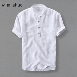 Mens Plus Size Silk Shirts NZ - Wmshuo Mens Shirts Fashion 2019 Summer Short Sleeve Slim Linen Shirts Male White Color Casual Shirts Plus Size 4xl Tops Y001 Q190401