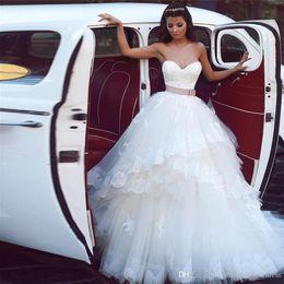 $enCountryForm.capitalKeyWord Australia - Saidmhamad Sweetheart Applique Lace Layered Skirt Ball Gowns Wedding Dress with Belt Bandage Bridal Gowns vestido de novia