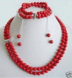 $enCountryForm.capitalKeyWord Australia - Women's Wedding Charming 2Rows Genuine Red Coral Beads Necklace Set Fashion shipping real silver jewelry silver-jewelry
