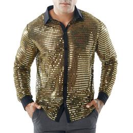 Discount bright eyes - Men'S Fashion Bright Gold Hollow Shirts Mens Long Sleeve Top Shirt Elegant Quality Attract Eye Design Man Shirt Nig