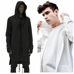 Wholesale black asymmetric top resale online - Men Long Cape Hoodie Cardigan Sweater Large Size Cloak Casual Jacket Autumn Winter Jacket Overcoat Outwear Tops
