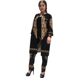 Leggings For Ladies Australia - 2019 New African Print Elastic Bazin Baggy Pants Rock Style Dashiki SLeeve Famous Suit For Lady women coat and leggings 2pcs se