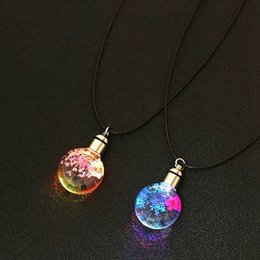 Discount crystal ball necklace wholesale - European And American Trend Dried Flowers LED Luminous Lace Flower Necklace Charm Wishing Crystal Glass Ball Necklace