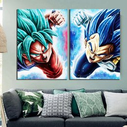 art deco picture framing NZ - Wall Art Canvas Pictures Paintings 2 Pcs Vegeta Goku Anime Dragon Ball Super Cartoon Modular Posters Modern HD Printed Home Deco T200118