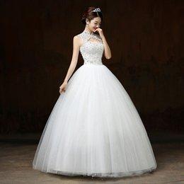 Großhandel Ballkleid Brautkleider Applikationen ärmellos hohe Ansatz schnüren sich oben wulstige Braut-Kleid-elegante Spitze Brautkleider Roben De Mariee