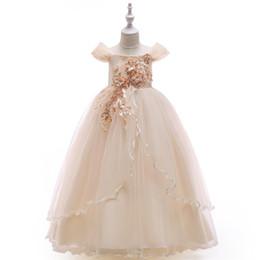 $enCountryForm.capitalKeyWord UK - 2019 Elegant Ball Gown Flower Girls Dresses For Weddings OFF Shoulder Applique Lace Tulle Children Wedding Dresses Girls Pageant Dress