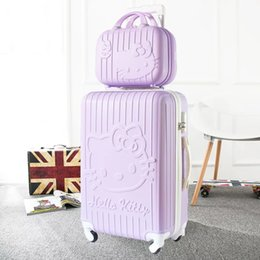 24 Inch Bag Australia - Cute Cartoon 14 inch Cosmetic bag hello Kitty 20 24 inches girl students Anime Trolley Suitcase Travel bag woman Rolling Luggage