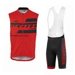 Scott Bike Bibs UK - SCOTT team Cycling Sleeveless jersey Vest bib shorts sets 3D gel pad men summer MTB Bike Clothing U53114