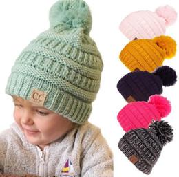 Baby Boy Skull Crochet Beanies Australia - kids Unisex CC Trendy Hat Winter Knitt Fur pom Poms Beanie leather Label Luxury Cable Slouchy Skull Caps Fashion Leisure baby Beanie Hats