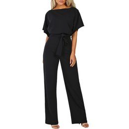 $enCountryForm.capitalKeyWord UK - Overalls For Women Jumpsuit Short Sleeve Playsuit Clubwear Straight Leg Jumpsuit With Belt Romper Women 2019 Y19051501