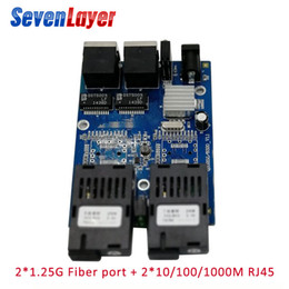 fiber port Australia - Ethernet Fiber Optical 2 SC fiber Port 2 RJ45 UTP 10 100 1000M Media Converter Gigabit Ethernet switch RJ45 UTP Board PCB