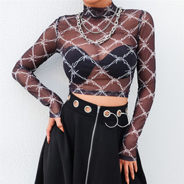 $enCountryForm.capitalKeyWord Australia - Quality Top Fashion Women Sexy Plaid Mesh Perspective Short Navel Top Strech Backing T-shirt Dropshipping Blusa Superior 2019 Y*