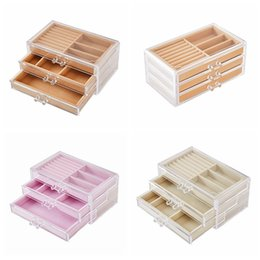 box drawers Australia - Clear Transparent Acrylic Jewelry Storage Box with 2 Drawers Jewelry Storage Boxes organizer for Earring Bangle Bracelet Necklace and Rings