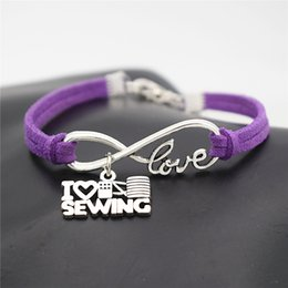 $enCountryForm.capitalKeyWord NZ - Wholesale New 2019 Trendy Purple Leather Suede Bracelet & Bangles Silver Plated Alloy Infinity Love I Heart Sewing Machine Women Men Jewelry