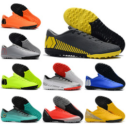 4ad8bf667 New Mens Low Ankle Football Boots Futsal Mercurial VaporX XII Academy IC TF  Soccer Shoes Neymar NJR Superfly CR7 Indoor Turf Soccer Cleats
