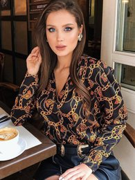 $enCountryForm.capitalKeyWord Australia - Women Blouse Shirts Password Chain Printed Tops Fashion Long Sleeve Vintage Female Criss-Cross V Neck Blusas Femme Streetwear